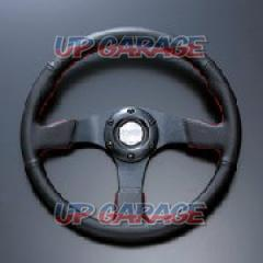 D1 SPEC Steering FLAT-R PVC leather 33 pie Red Stitch