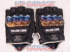 YELLOW-CORN Titanium protection fingerless gloves [L size]